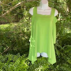 CHA CHA VENTE SM THICK LIME GREEN COLD SHOULDER